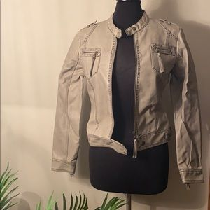 Edgy Beverly Hills Polo Womens Grey leather jacket